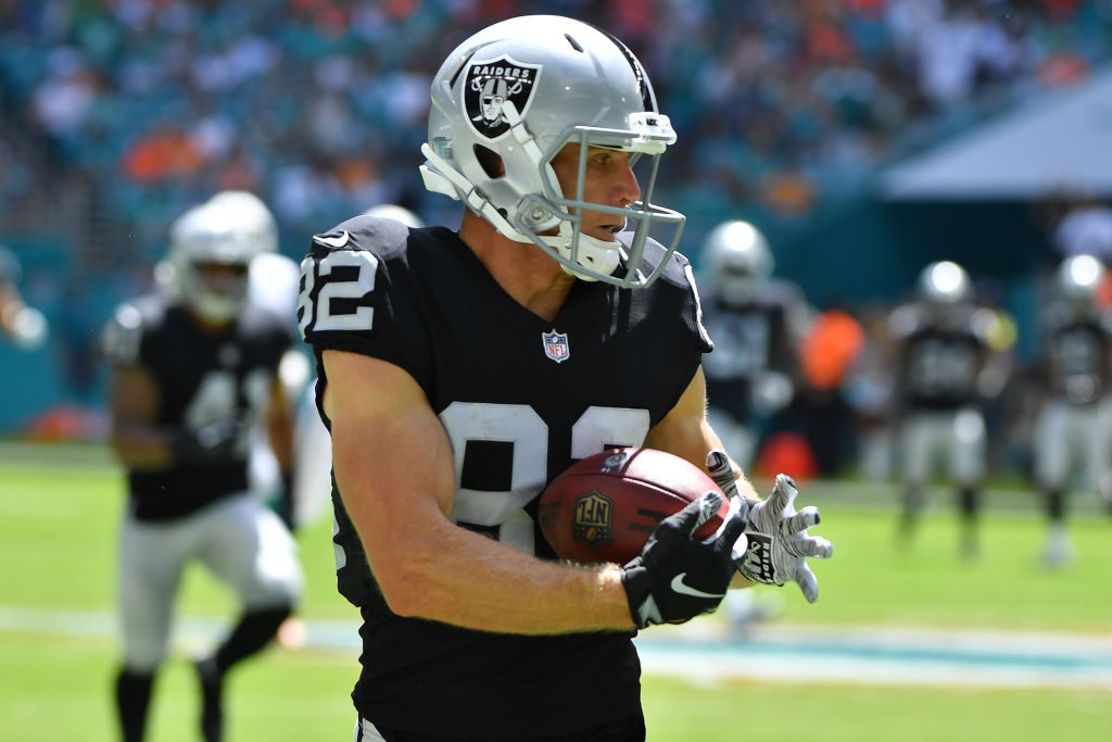 Jordy Nelson #82 of the Oakland Raiders runs for a touchdown against the Miami Dolphins