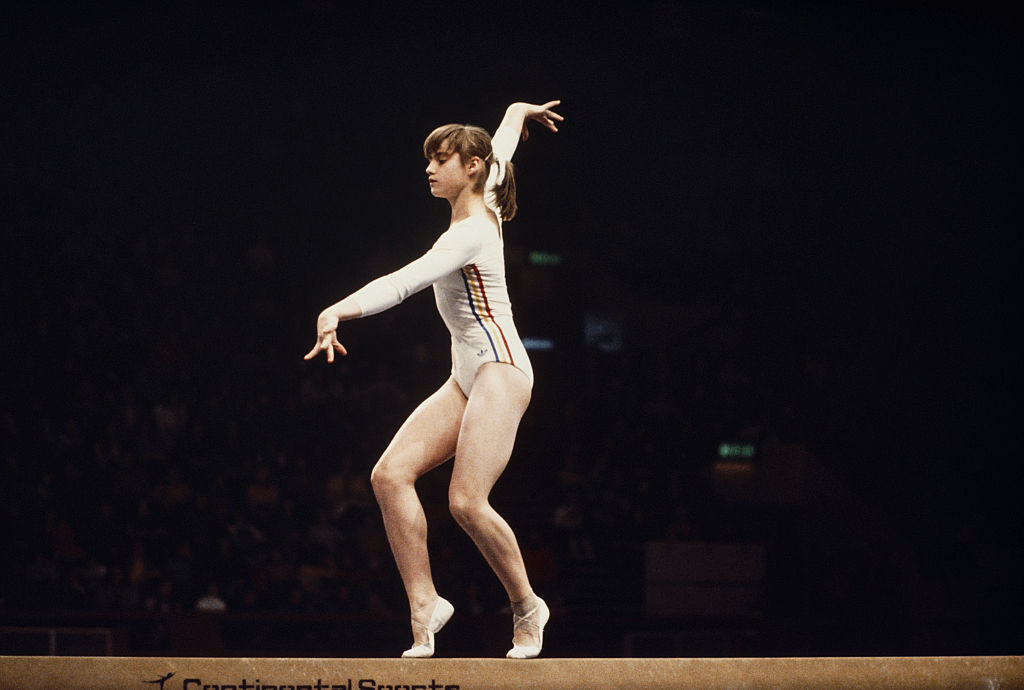 nadia comaneci on the beam training