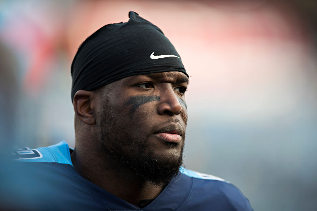 Brian Orakpo #98 of the Tennessee Titans walking off the field before a game against the Jacksonville Jaguars