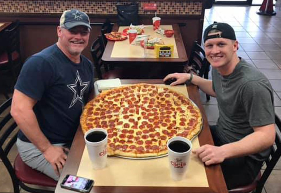 Men trying Cici's pizza challenge to win $500