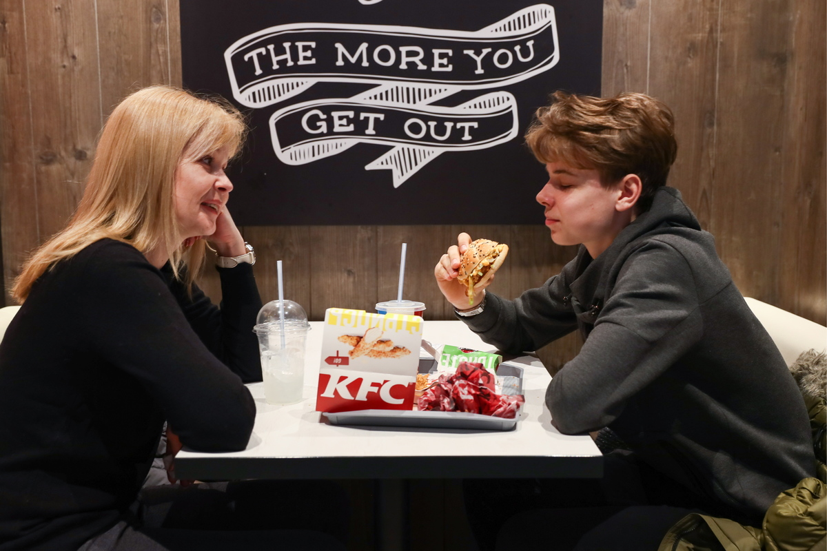 Customers eating in a KFC fastfood restaurant