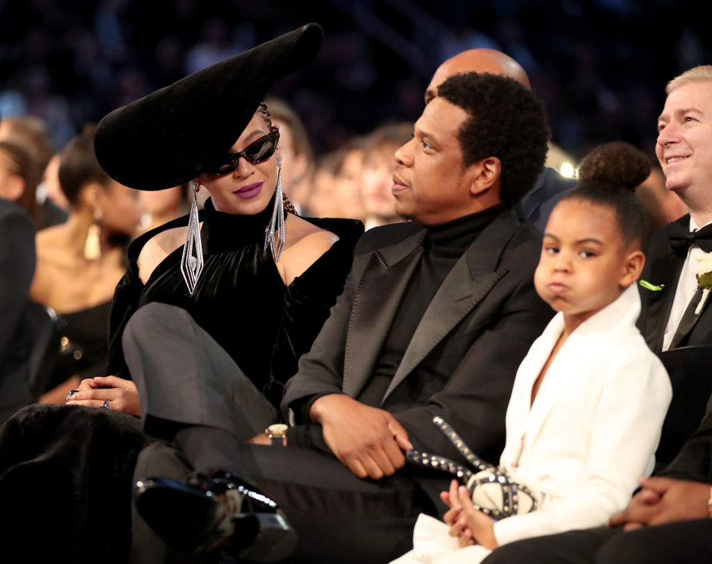 beyonce jay z and blue ivy attend 60th grammy awards