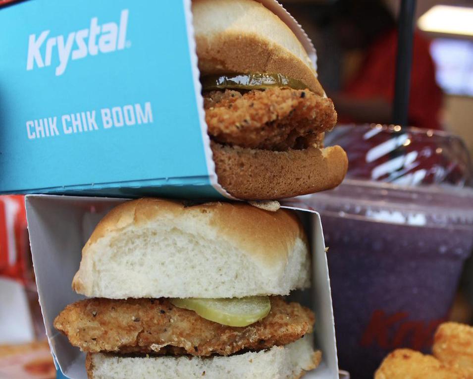 Stacks of tiny Krystal burgers