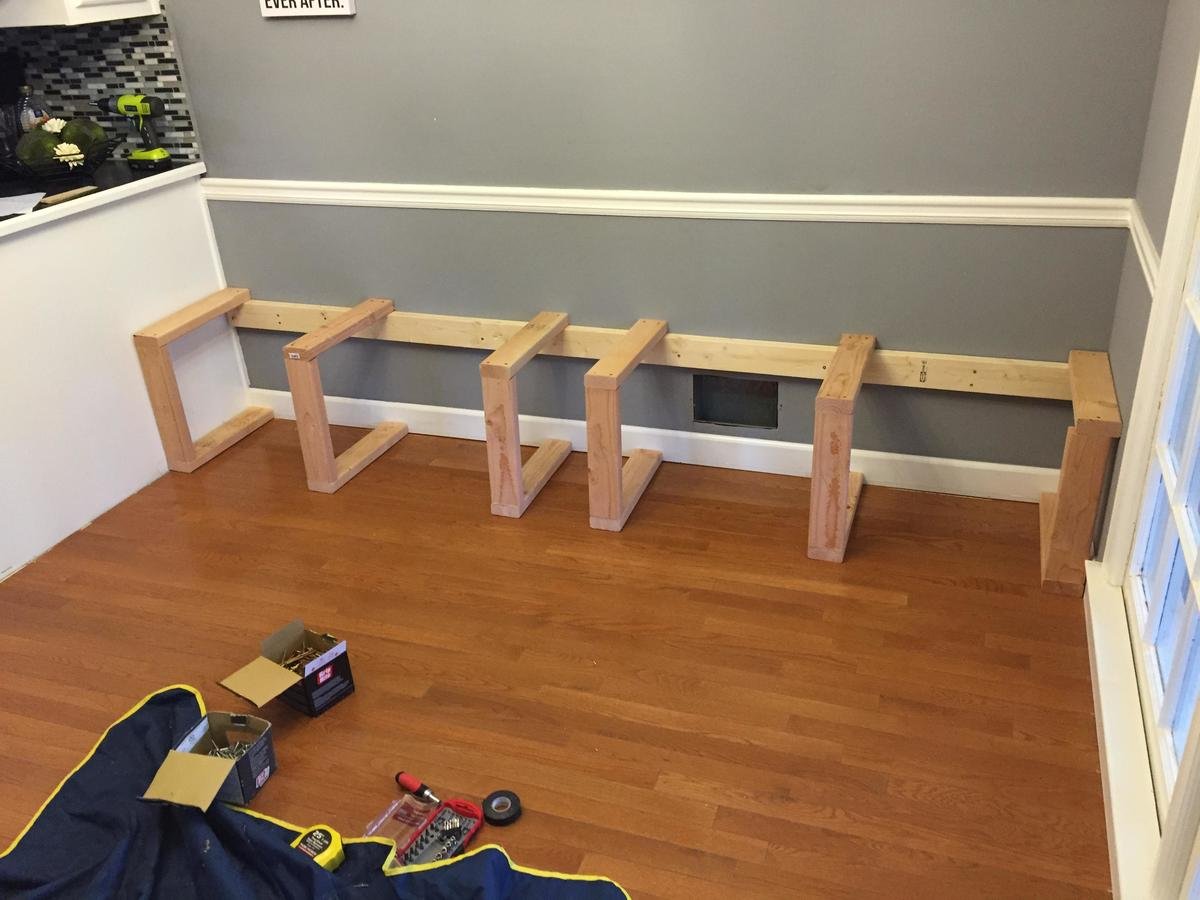 vertical planks supporting horizontal planks