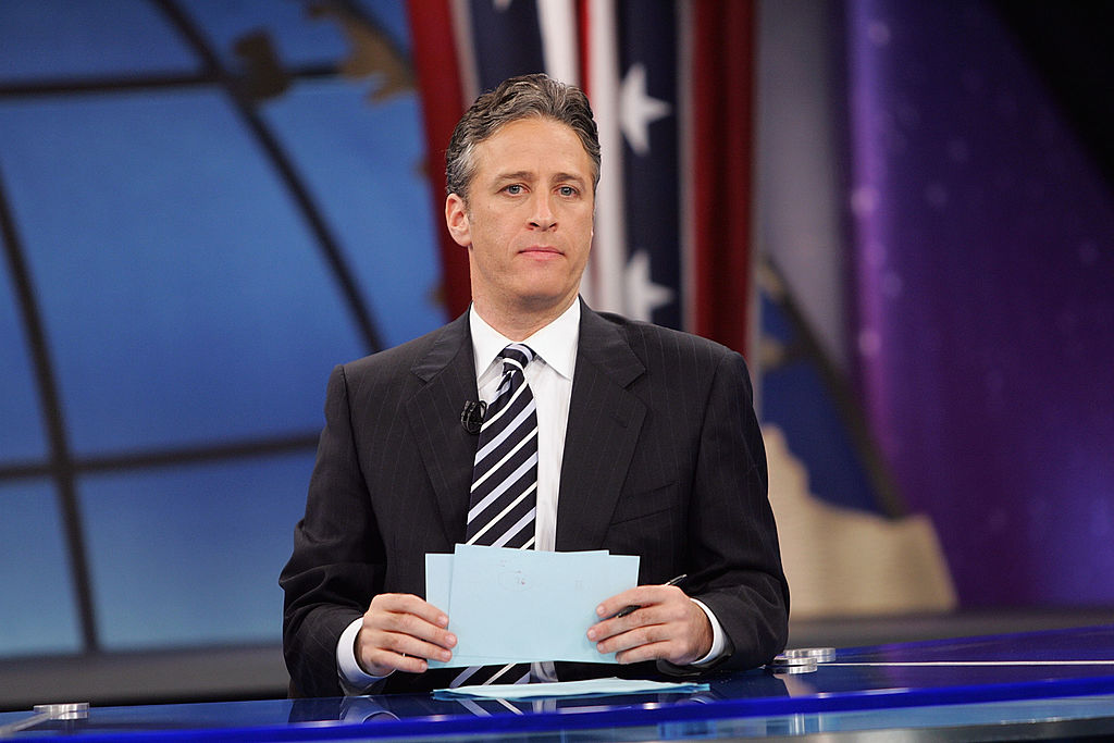 Jon Stewart appears during live Election Night coverage