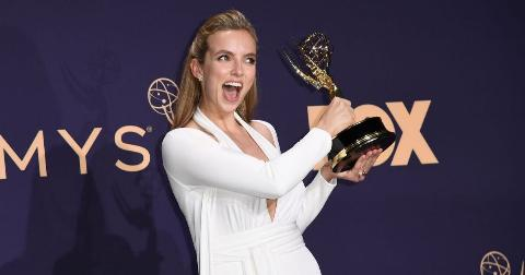 """Jodie Comer poses with the Emmy Outstanding Lead Actress in a Drama Series award for """"Killing Eve"""""""