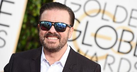 Ricky Gervais arrives at the 73nd annual Golden Globe Awards, January 10, 2016