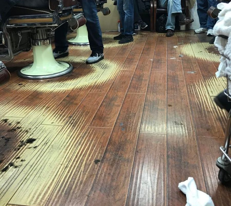 perfect circles around barber chairs