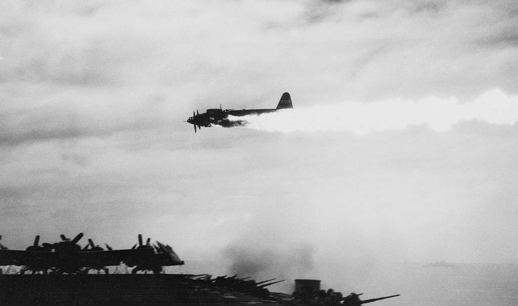 Kamikaze plane being shot down
