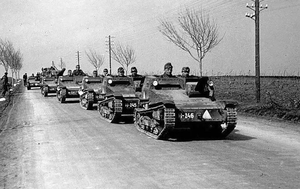 Line of mini tanks