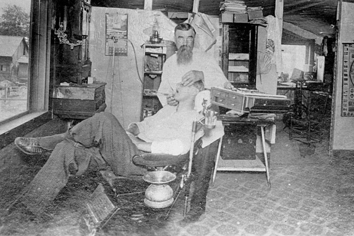 Dentist working on patient in Jacksonville Oregon, early 1890s