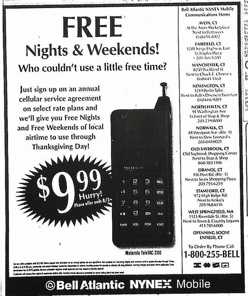 ad shows free phone minutes on nights and weekends
