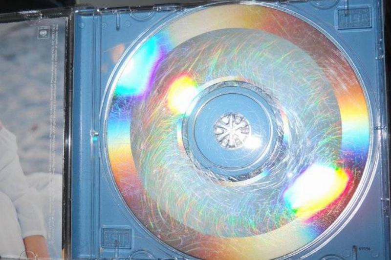 CD covered in scratches