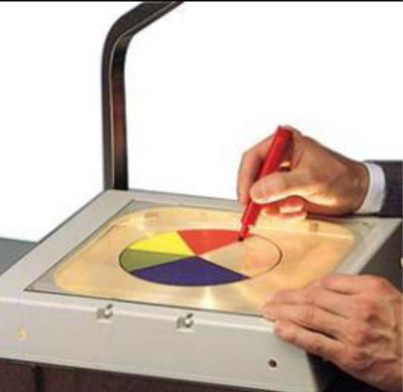 person writing on acetate sheet on overhead projector