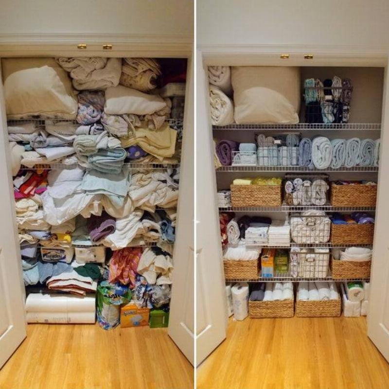 closet before and after organization