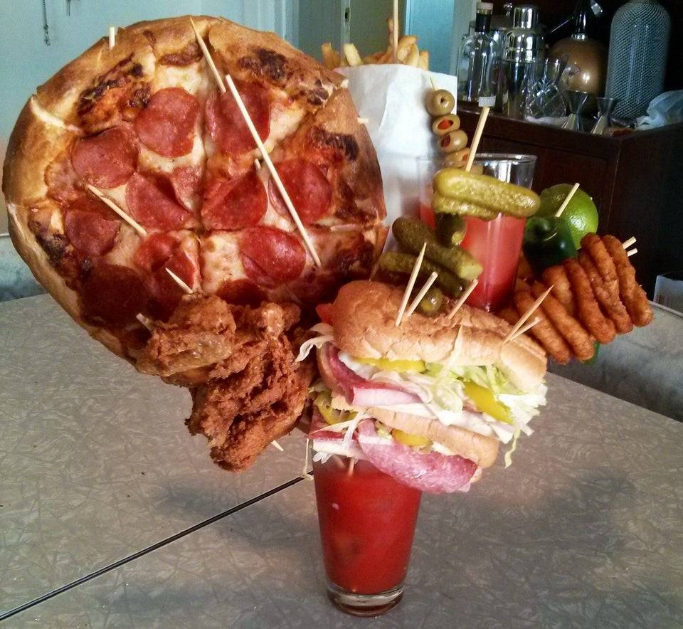 bloody marry topped with gallons of food