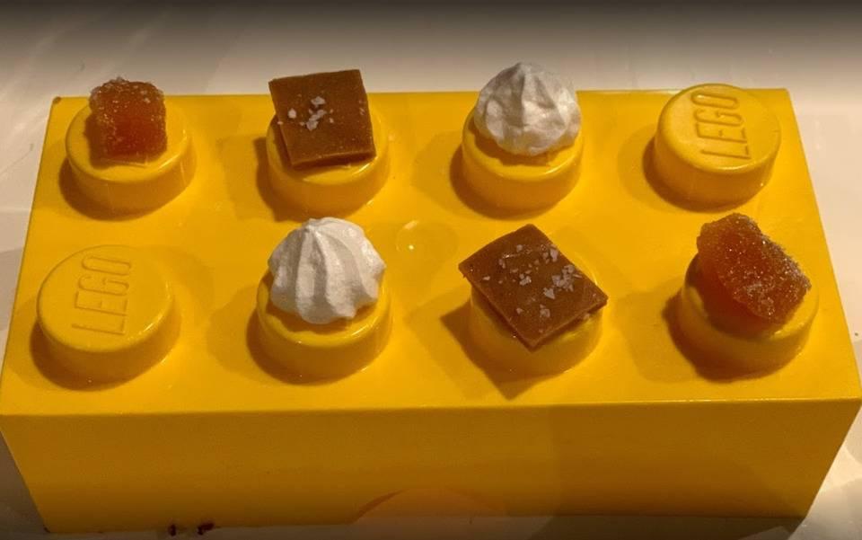 dessert served on lego brick