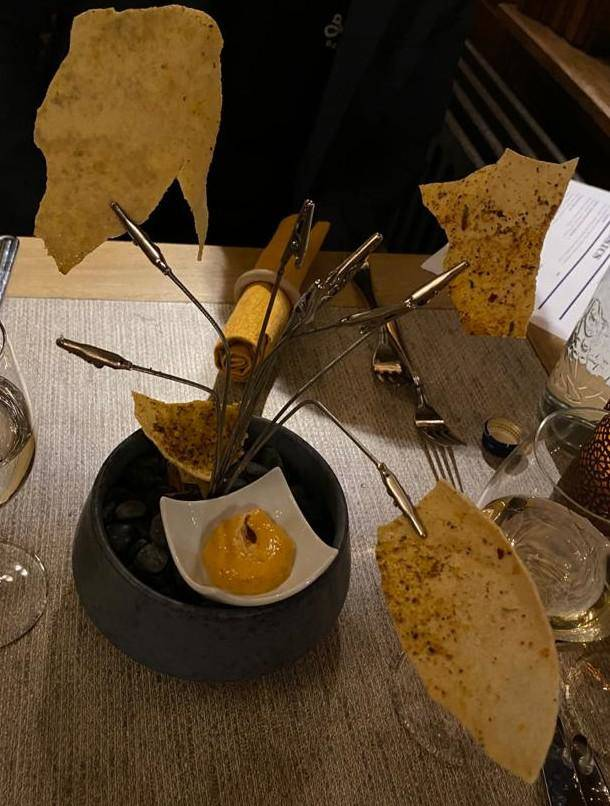 food served on photo stand