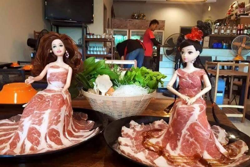 dolls dressed in meat