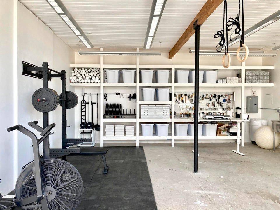 organized gym all white