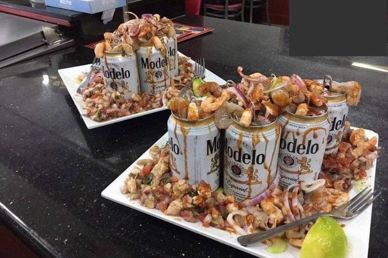 shrimp on empty beer cans