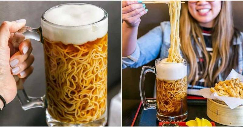 spaghetti served inside beer stein