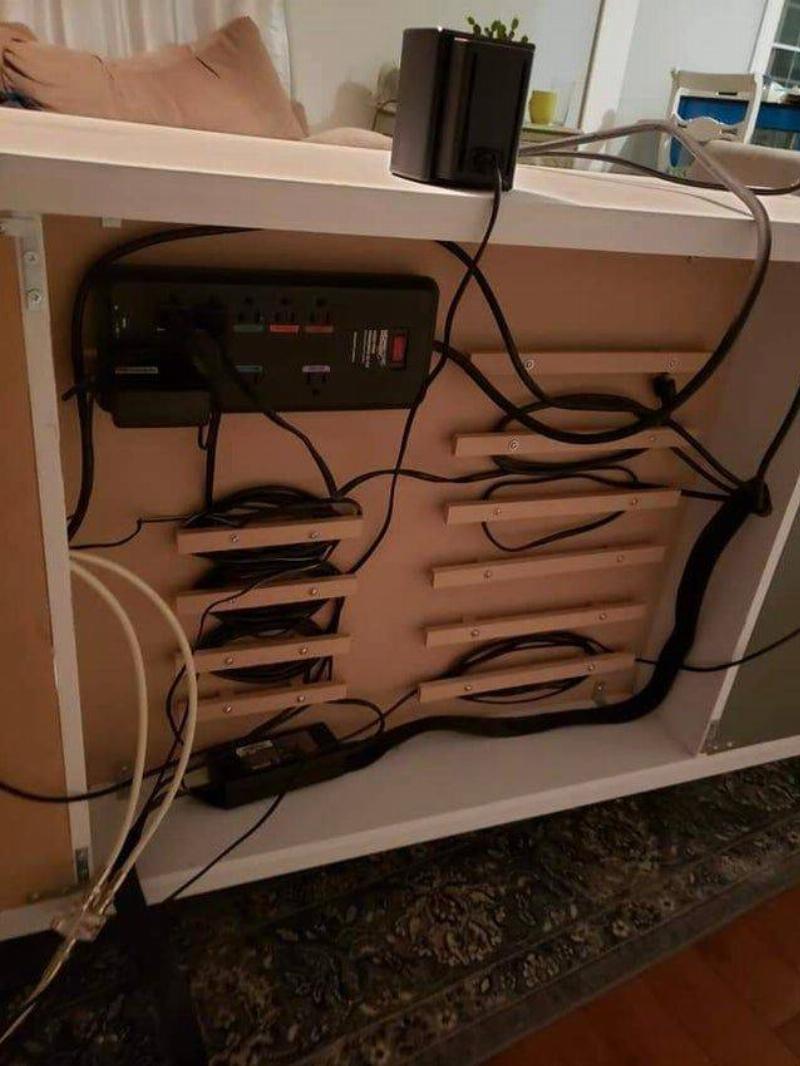 wires under desk