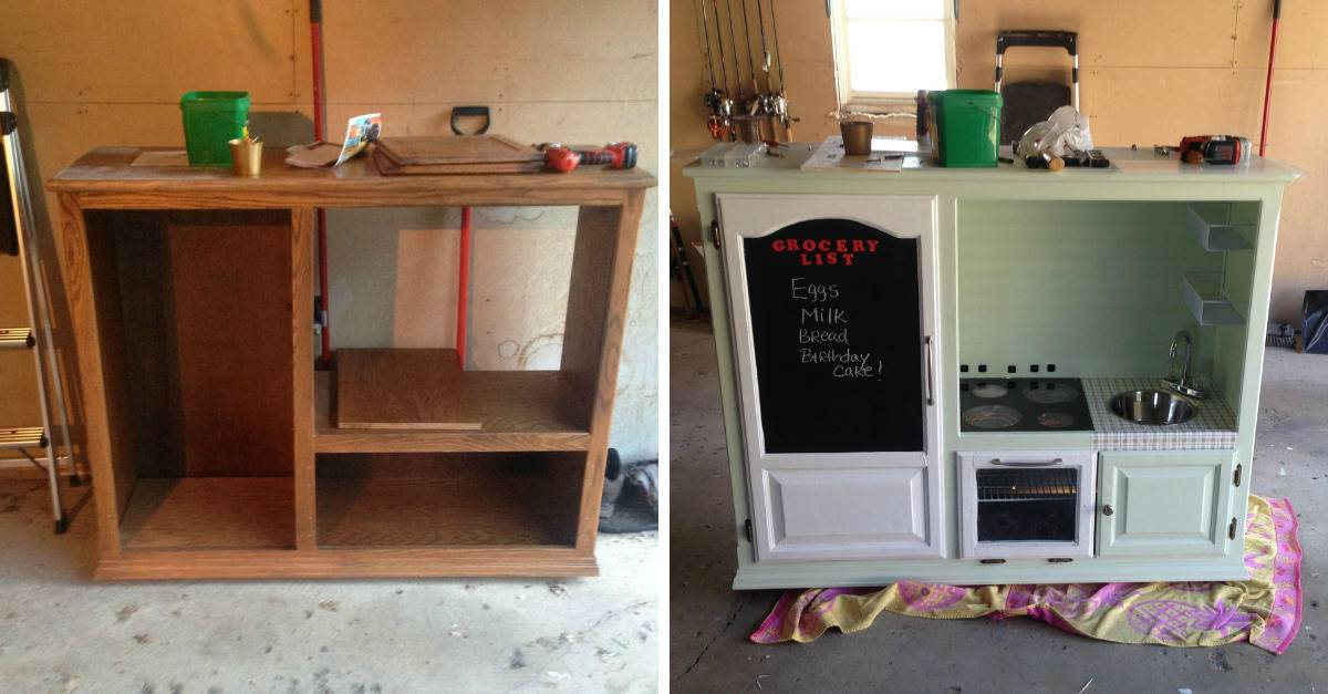 people turned an old cupboard into a play kitchen
