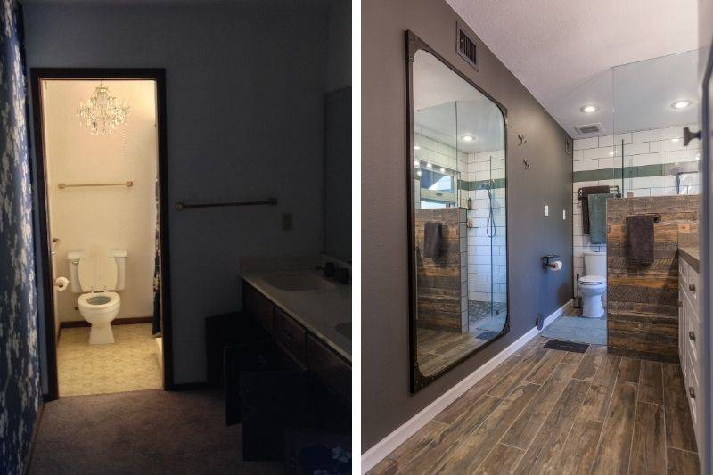 a before and after of a bathroom renovation