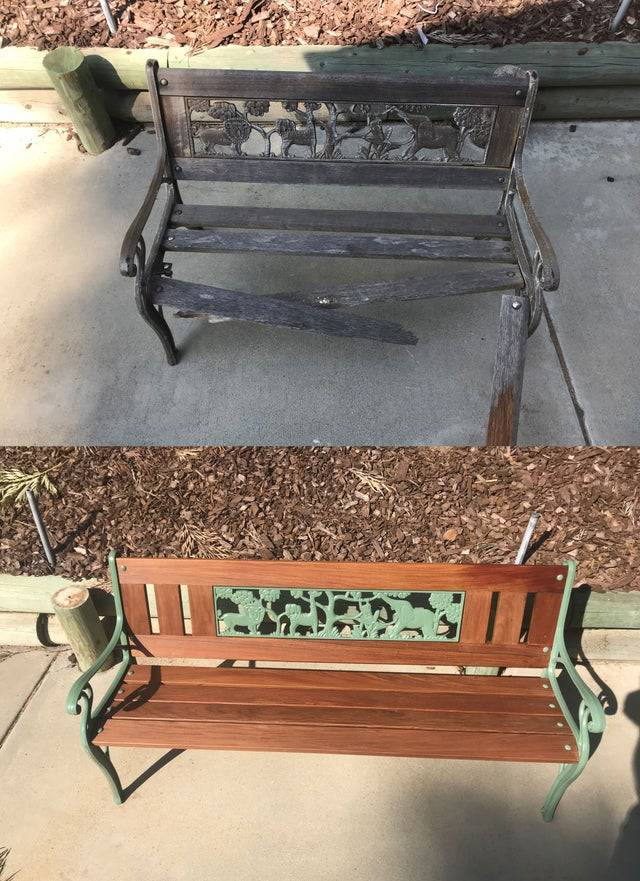 dad restored a bench for his daughter
