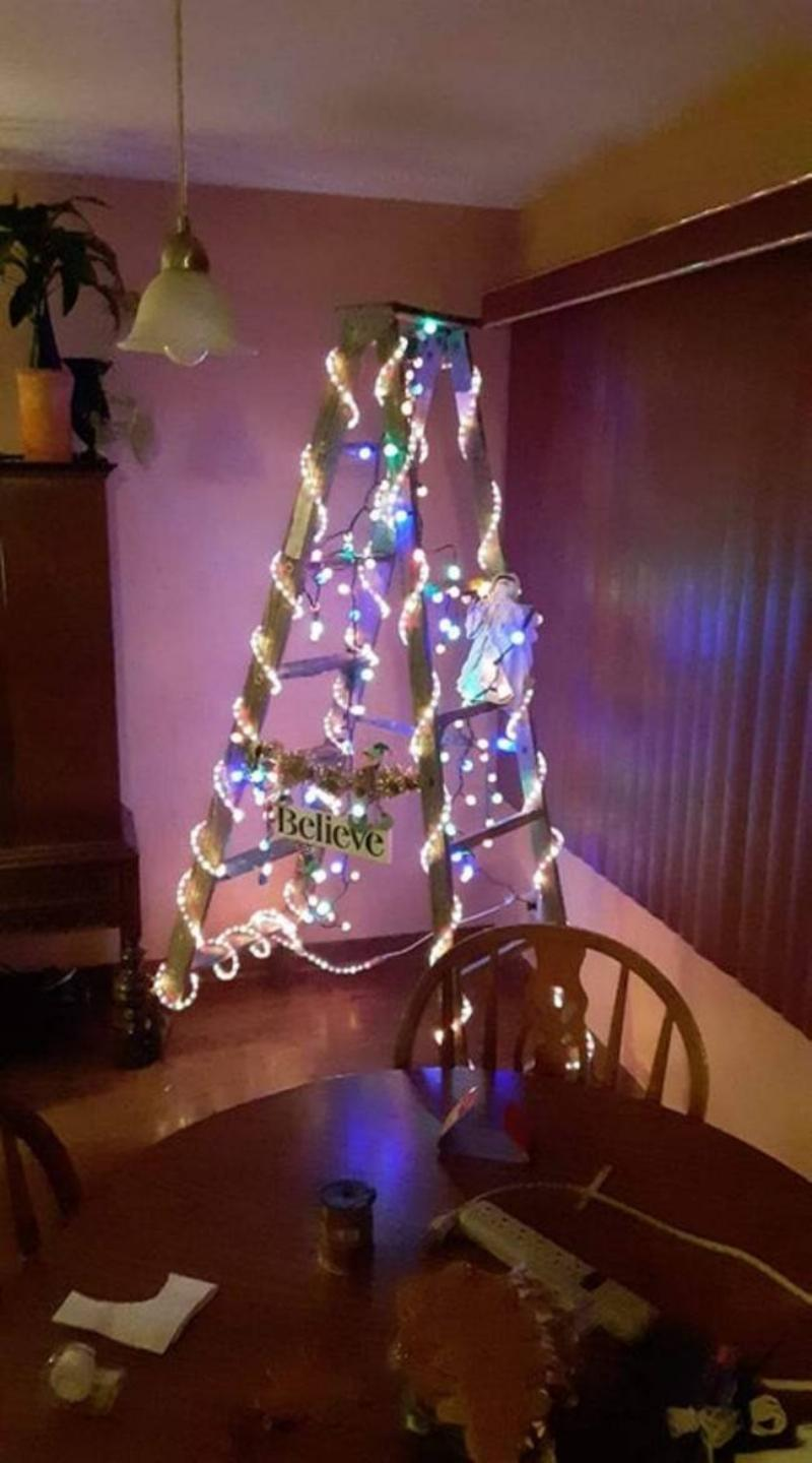 christmas tree made out of ladder