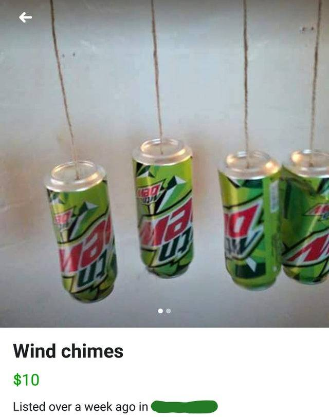 wind chimes made of mountain dew cans