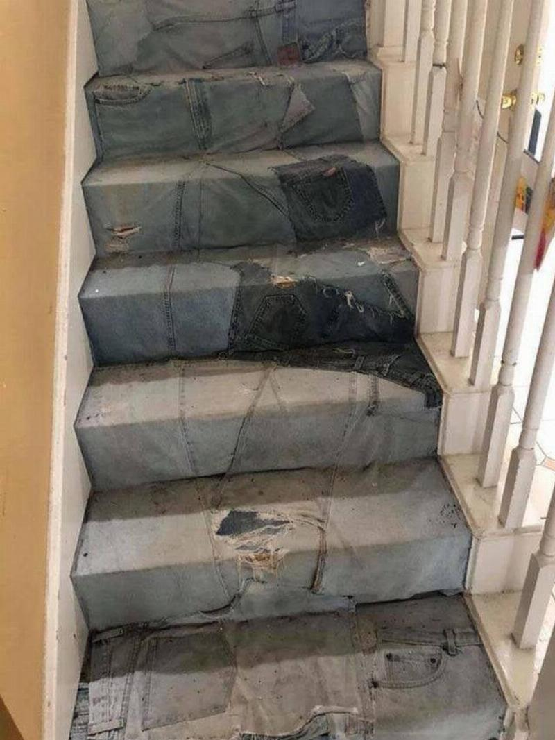 DIY patchwork denim staircase in home