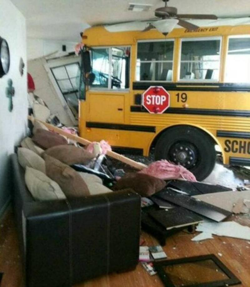 school bus drove through wall of house into living room