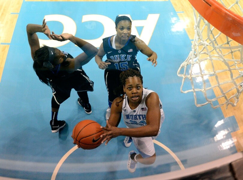 Xylina McDaniel goes for a layup against Duke.